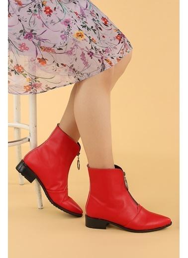 Ayakland Ayakland 007-02 Cilt Fermuarlı Termo Taban Bayan Bot Ayakkabı Kırmızı